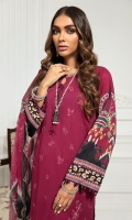 Embroidered Lawn Front Digital Printed Back & Sleeves Embroidered Front Border Digital Printed Chiffon Dupatta Dyed Cambric Lawn Trouser