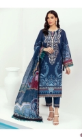 PRINTED LAWN FRONT PRINTED BACK & SLEEVES PRINTED CHIFFON DUPATTA EMBROIDERED NECKLINE PATCH EMBROIDERED TROUSER PATCH DYED CAMBRIC LAWN TROUSER