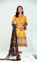 EMBROIDERED LAWN FRONT PRINTED BACK & SLEEVES PRINTED CHIFFON DUPATTA EMBROIDERED TROUSER PATCH DYED CAMBRIC LAWN TROUSER