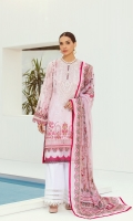 PRINTED LAWN FRONT  PRINTED BACK & SLEEVES  PRINTED CHIFFON DUPATTA  EMBROIDERED NECKLINE PATCH  DYED CAMBRIC LAWN TROUSER