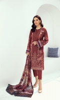 EMBROIDERED LAWN FRONT  PRINTED BACK & SLEEVES  PRINTED CHIFFON DUPATTA  EMBROIDERED FRONT & BACK BORDER  DYED CAMBRIC LAWN TROUSER