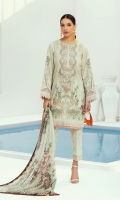 PRINTED LAWN FRONT  PRINTED BACK & SLEEVES  PRINTED CHIFFON DUPATTA  EMBROIDERED NECKLINE PATCH  EMBROIDERED CAMBRIC LAWN TROUSER