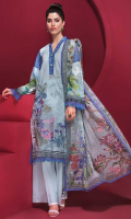 """Digital Printed Embroidered Lawn Shirt Front 1.20 yards Digital Printed Lawn Shirt Back & Sleeve 1.90 yards Digital Printed Fancy Lurex Dupatta 2.75 yards Dyed Cambric Trouser 2.65 yards Embroidered Necklace on Tissue – 40"""" 01 piece"""