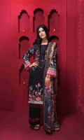 Digital Printed Embroidered Lawn Shirt Front 1.20 yards Digital Printed Lawn Shirt Back & Sleeve 1.90 yards Digital Printed Fancy Lurex Dupatta 2.75 yards Dyed Cambric Trouser 2.65 yards