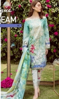 Digital Printed Embroidered shirt: 3.00 mtr  Trouser: 2.50 mtr  Pima Lawn Voil Dupatta: 2.5mtr  Add On  trouser Patch: 2pcs