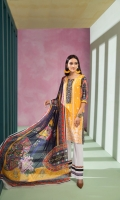 Front dyed shirt 1 yard  Digital printed back and sleeves 2mtr  Cambric trouser 2.5 mtr  Silk dupatta  2.5 mtr   ADD ON: Schiffli embroidery on shirt – Embroidered lace: 1pc