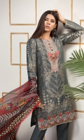 Brosha jacquard shirt 3.25 mtr  Cambric trouser 2.5 mtr  Digital printed chiffon dupatta 2.5 mtr  ADD ON: Embroidered neckline: 1pc- Embroidered border: 1pc – Motif for trouser: 2pc
