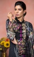 Digital printed shirt 3 mtr  Cambric trouser 2.5 mtr  Digital printed chiffon dupatta 2.5 mtr  ADD ON:  Embroidered motif: 1pc – Embroidered border: 1pc -Embroidered lace: 1pc  Schiffli embroidery on trouser