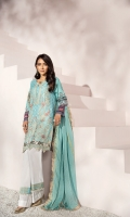Self jacquard dyed front 1.2mtr  Back and sleeves digital printed 2mtr  Cambric trouser 2.5mtr  Zari lawn dupatta 2.5mtr  ADD ON:  Embroidery on shirt – Embroidered border: 1pc – Embroidered lace :1pc