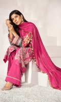 – Self jacquard dyed front 1.2mtr  Back and sleeves digital printed 2mtr .  Cambric trouser 2.5mtr  Zari lawn dupatta 2.5mtr  ADD ON:  Embroidery on shirt – Embroidered border: 1pc – Embroidered lace :1pc