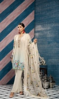 Digital printed shirt 3mtr  Cambric trouser 2.5 mtr  Fancy zari organza dupatta 2.5 mtr  ADD ON: Embroidery on shirt and dupatta- Embroidered lace: 1pc