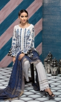 Self jacquard lawn shirt 3.25 mtr  Cambric trouser 2.5 mtr  Fancy zari dupatta 2.5 mtr  ADD ON:  Embroidery on shirt and sleeves – Hem border: 1pc
