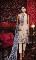 Dyed Front: 1.25 mtr Digital Printed back&sleeves: 2mtr Trouser: 2.5 mtr Chiffon Dupatta: 2.5 mtr   Add On   Embroidery on Shirt Embroidered Lace: 1mtr Embroidered Motif: 1 pc