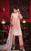 Dyed Front: 1.25 mtr Digital Printed back&sleeves: 2mtr Trouser: 2.5 mtr Chiffon Dupatta: 2.5 mtr   Add On   Embroidery on Shirt Embroidered Lace: 1mtr