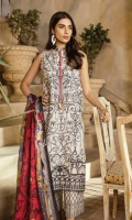 Dyed Front: 1.25 mtr Printed Trouser: 2.5 mtr Silk Dupatta: 2.5 mtr   Add On   Embroidery on Shirt Embroidered Lace: 1mtr