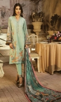 Dyed Front: 1.25 mtr Digital Printed BAck&sleeves: 2 mtr Trouser: 2.5 mtr Chiffon Dupatta: 2.5 mtr   Add On   Embroidery on Shirt