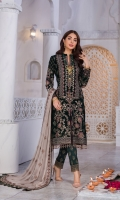 Embroidered Velvet Front Embroidered Velvet Side Panels Plain Velvet Back Embroidered Velvet Sleeves Embroidered Chiffon Dupatta ( Contrast ) Embroidered Velvet Border For Front Embroidered Velvet Border For Back Embroidered Velvet Border For Sleeves Embroidered Chiffon Border For Dupatta Pallu Embroidered Silk Trouser