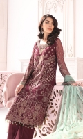 Embroidered Chiffon Front (Stone Embellished) Embroidered Chiffon Side Panel Embroidered Chiffon Back Embroidered Chiffon Sleeves (Stone Embellished) Embroidered Chiffon Dupatta Contrast Embroidered Organza Neckline (Hand Made) Embroidered Organza Border for Front (Stone Embellished) Embroidered Silk Border for Back Embroidered Silk Border for Sleeves Embroidered Organza Contrast Dupatta Pallu (Stone Embellished) Embroidered Organza Border for Dupatta Contrast Dyed Trouser