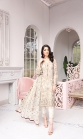 Embroidered Chiffon Front Embroidered Chiffon Side Panel Embroidered Chiffon Back Embroidered Chiffon Sleeves Embroidered Chiffon Dupatta Embroidered Organza Border for Front (Hand Made) Embroidered Organza Border for Back Dyed Trouser