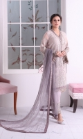 Embroidered Chiffon Front Plain Chiffon Back Embroidered Chiffon Sleeves Contrast Net Dupatta (Stone Embellished) Embroidered Organza Border for Front Embroidered Organza Border for Back Embroidered Organza Border for Sleeves Embroidered Organza Border for Neckline Embroidered Organza Border for Dupatta Embroidered Organza Border for Trouser Dyed Trouser