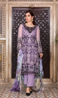 Embroidered Chiffon Front Plain Chiffon Back Embroidered Chiffon Sleeves Digital Printed Chiffon Dupatta Embroidered Organza Border For Front Embroidered Organza Border For Back Embroidered Organza Gala Patch ( Hand Made ) Dyed Trouser