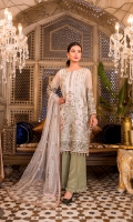 Embroidered Chiffon Front Embroidered Chiffon Side Pannel Plain Chiffon Back Embroidered Chiffon Sleeves Embroidered Net Dupatta Embroidered Organza Border For Front Embroidered Organza Border For Back Embroidered Silk Border For Sleeves (Contrast) Embroidered Silk Border For Dupatta (Contrast) Dyed Trouser (Contrast)