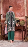Embroidered Chiffon Front Left Pannel Embroidered Chiffon Front Right Pannel Embroidered Chiffon Front Left Right Pannels Plain Chiffon Back Embroidered Chiffon Sleeves Embroidered Chiffon Dupatta (Contrast) Embroidered Organza Border For Front Embroidered Organza Border For Back Embroidered Organza Border For Sleeves Embroidered Organza Border For Jacket Embroidered Organza Border For Dupatta Pallu Embroidered Organza Border For Dupatta Dyed Trouser