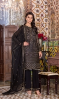 Embroidered Chiffon Front Embroidered Chiffon Side Pannel Plain Chiffon Back Embroidered Chiffon Sleeves Embroidered Chiffon Dupatta Embroidered Organza Border For Front Embroidered Organza Border For Back Embroidered Organza Border For Sleeves Embroidered Organza Border For Dupatta Dyed Trouser