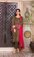 Embroidered Chiffon Front Plain Chiffon Back Embroidered Chiffon Sleeves Embroidered Chiffon Dupatta (Contrast) Embroidered Chiffon Border For Back Embroidered Silk Border For Dupatta Dyed Trouser