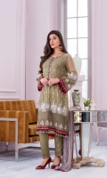 Embroidered Chiffon Front Plain Chiffon Back Embroidered Chiffon Sleeves Embroidered Chiffon Dupatta Contrast Embroidered Organza Border for Front Embroidered Organza Border for Back & Sleeves Embroidered Organza Neckline Dyed Trouser