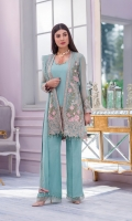 Embroidered Chiffon Front Left Panel Embroidered Chiffon Front Right Panel Embroidered Chiffon Front Side Panel's Plain Chiffon Back Embroidered Chiffon Sleeves Embroidered Chiffon Dupatta Embroidered Organza Border for Front Embroidered Organza Border for Back Embroidered Organza Border for Sleeves Embroidered Organza Border for Jacket Dyed Trouser