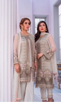 Embroidered Chiffon Front Plain Chiffon Back Embroidered Chiffon Sleeves Embroidered Chiffon Dupatta Embroidered Organza Border for Front Embroidered Organza Border for Back Dyed Trouser