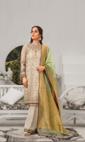 Embroidered Chiffon Front Plain Chiffon Back Embroidered Chiffon Sleeves Embroidered Chiffon Dupatta Embroidered Organza Border For Front Embroidered Organza Border For Back Embroidered Organza Border For Sleeves Dyed Trouser