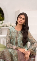 Embroidered Chiffon Front Embroidered Chiffon Side Embroidered Chiffon Front Embroidered Chiffon Side Panels Plain Chiffon Back Embroidered Chiffon Sleeves Stone Embellished Net Dupatta ( Contrast ) Embroidered Organza Border For Front Embroidered Organza Border For Back Embroidered Silk Border For Sleeves ( Hand Made ) Embroidered Organza Neck line Patch ( Hand Made ) Embroidered Silk Border For Dupatta (Contrast) Dyed Trouser