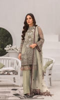 Embroidered Chiffon Front Embroidered Chiffon Side Panels Plain Chiffon Back Embroidered Chiffon Sleeves Embroidered Chiffon Dupatta Embroidered Organza Border For Front Embroidered Organza Border For Back Embroidered Silk Border For Dupatta (Contrast) Dyed Trouser ( Contrast )