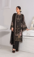 Embroidered Chiffon Front Panel Embroidered Chiffon Front Left Panel Embroidered Chiffon Front Right Panel Plain Chiffon Back Embroidered Chiffon Sleeves Embroidered Chiffon Dupatta Embroidered Organza Border For Front Embroidered Organza Border For Back Embroidered Organza Border For Sleeves Dyed Trouser ( Contrast )