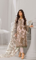 Embroidered Chiffon Front Embroidered Chiffon Side Panels Plain Chiffon Back Embroidered Chiffon Sleeves Embroidered Net Dupatta (Contrast) Embroidered Organza Border For Front Embroidered Organza Border For Back Embroidered Organza Border For Sleeves Embroidered Organza Neck line Patch ( Hand Made ) Dyed Trouser