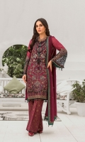 Embroidered Chiffon Front Embroidered Chiffon Side Panels Plain Chiffon Back Embroidered Chiffon Sleeves Embroidered Chiffon Dupatta Embroidered Organza Border For Front Embroidered Organza Border For Back Embroidered Organza Border For Sleeves Embroidered Organza Motive For Front ( Hand Made ) Embroidered Silk Border For Dupatta (Contrast) Dyed Trouser