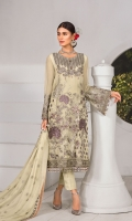 Embroidered Chiffon Front Embroidered Chiffon Side Panels Plain Chiffon Back Embroidered Chiffon Sleeves Embroidered Chiffon Dupatta Embroidered Organza Border For Front Embroidered Organza Border For Back Dyed Trouser