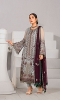 Embroidered Chiffon Front Embroidered Chiffon Side Panels Plain Chiffon Back Embroidered Chiffon Sleeves Embroidered Chiffon Dupatta (Contrast) Embroidered Organza Border For Front Embroidered Organza Border For Back Embroidered Silk Border For Sleeves (Contrast) Embroidered Organza Neck line Patch ( Hand Made ) Dyed Trouser
