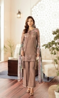 Embroidered Chiffon Front Embroidered Chiffon Side Pannel Plain Chiffon Back Embroidered Chiffon Sleeves Digital Printed Chiffon Dupatta Embroidered Organza Border For Front Embroidered Organza Border For Back Embroidered Organza Border For Sleeves Embroidered Organza Border For Trouser Dyed Trouser