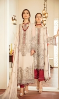 Embroidered Chiffon Front Embroidered Chiffon Side Pannel Embroidered Chiffon Back Embroidered Chiffon Sleeves Embroidered Chiffon Dupatta Embroidered Organza Neck Line Patch ( Hand Made ) Embroidered Organza Border For Front Embroidered Organza Border For Back Embroidered Silk Border For Front (Contrast) Embroidered Silk Border For Back (Contrast) Embroidered Silk Border For Sleeves (Contrast) Embroidered Silk Border For Dupatta (Contrast) Dyed Trouser (Contrast)