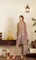 Embroidered Chiffon Front Plain Chiffon Back Embroidered Chiffon Sleeves Plain Net Dupatta (Contrast) Embroidered Organza Border For Front Embroidered Organza Border For Back Embroidered Organza Border For Sleeves Embroidered Organza Border For Jacket Embroidered Organza Pallu For Dupatta (Contrast) Embroidered Organza Lines For Dupatta (Contrast) Dyed Trouser