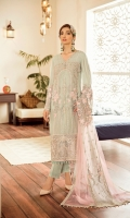 Embroidered Chiffon Front Embroidered Chiffon Side Pannel Plain Chiffon Back Embroidered Chiffon Sleeves Embroidered Chiffon Dupatta Pannel Plain Net Dupatta (Contrast) Embroidered Organza Daman For Front (Contrast) Embroidered Organza Daman For Back (Contrast) Embroidered Organza Border For Sleeves Embroidered Organza Border For Duppata Dyed Trouser