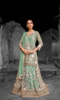 Embroidered Chiffon Front (Stone Embellished) Embroidered Chiffon Side Panels Plain Chiffon Back Embroidered Chiffon Sleeves (Stone Embellished) Stone Embellished Chiffon Dupatta Embroidered Organza Border For Front (Hand Made) Embroidered Organza Border For Back (Hand Made) Embroidered Organza Border For Sleeves Embroidered Organza Border For Lehenga (Stone Embellished) Embroidered Net Lehenga Dyed Trouser