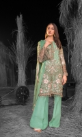 Embroidered Chiffon Front ( Stone Embellished ) Embroidered Chiffon Side Panels Plain Chiffon Back Embroidered Chiffon Sleeves ( Stone Embellished ) Stone Embellished Chiffon Dupatta Embroidered Organza Border For Front ( Hand Made ) Embroidered Organza Border For Back Embroidered Organza Border For Sleeves ( Hand Made ) Embroidered Organza Neckline ( Hand Made ) Dyed Trouser