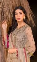 Embroidered Chiffon Front Center Panel Embroidered Chiffon Front Left Panel Embroidered Chiffon Front Right Panel Plain Chiffon Back Embroidered Chiffon Sleeves Embroidered Chiffon Dupatta Embroidered Organza Daman For Front Embroidered Organza Border For Front Embroidered Organza Border For Back Dyed Trouser