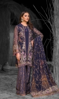 Embroidered Chiffon Front Embroidered Chiffon Side Panels Plain Chiffon Back Embroidered Chiffon Sleeves Embroidered Chiffon Dupatta Embroidered Organza Border For Front Embroidered Organza Border For Back Embroidered Organza Border For Sleeves Embroidered Organza Border For Dupatta Pallu Embroidered Organza Border For Trouser Dust Print Trouser