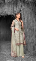 Embroidered Chiffon Front Embroidered Chiffon Side Pannels Plain Chiffon Back Embroidered Chiffon Sleeves Embroidered Chiffon Dupatta Embroidered Organza Border For Front Embroidered Organza Border For Back Embroidered Organza Border For Sleeves Embroidered Organza Border For Dupatta Pallu Embroidered Organza Border For Neckline Dyed Trouser
