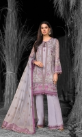 Embroidered Chiffon Front Left Panel Embroidered Chiffon Front Right Panel Embroidered Chiffon Side Panels Embroidered Chiffon Back Embroidered Chiffon Sleeves Embroidered Chiffon Dupatta Embroidered Organza Border For Front Embroidered Organza Border For Back Embroidered Organza Border For Sleeves Embroidered Organza Border For Dupatta Pallu Embroidered Organza Border For Trouser Dyed Trouser